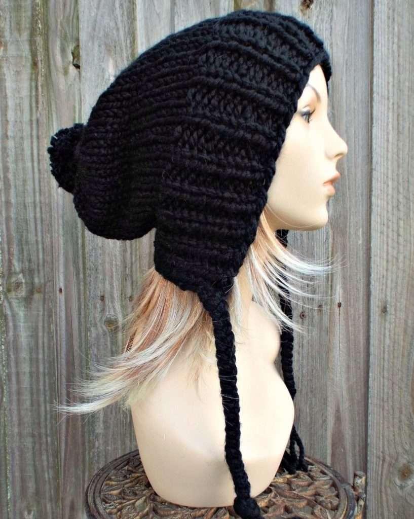 Black Slouchy Pom Pom Hat