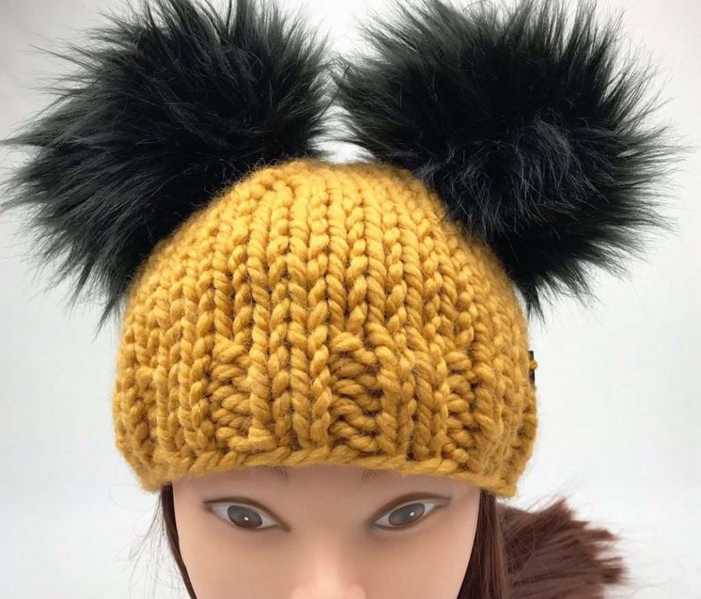 Double Pom Pom Beanie with Faux Fur