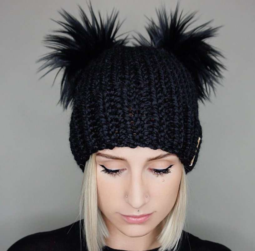 Faux Fur Double Pom Beanie