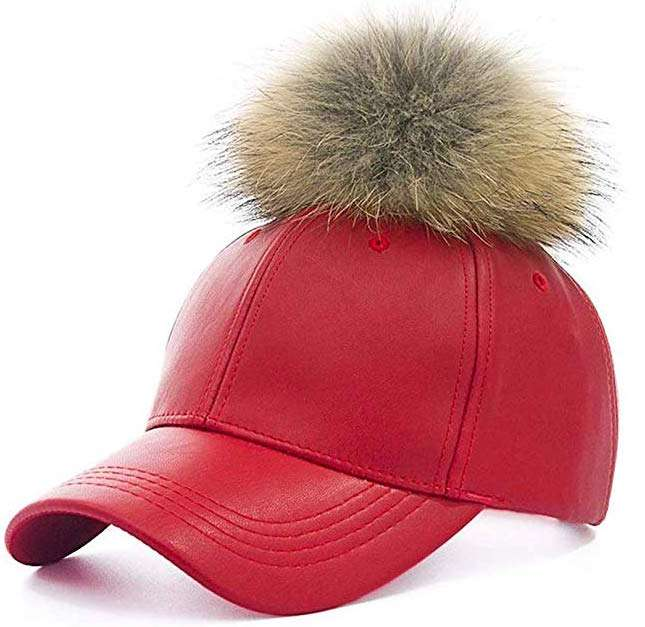 Faux Leather Baseball Caps with Real Fur Pom Pom - Red
