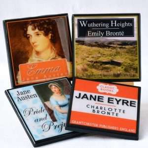 Gifts for Book Lovers That Aren't Books, Classic Book Cover Drink Coaster Set