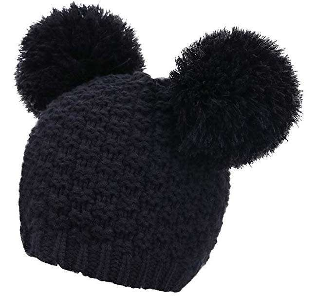 Livingston Women's Winter Chunky Knit Beanie Hat w:Double Pompom Ears