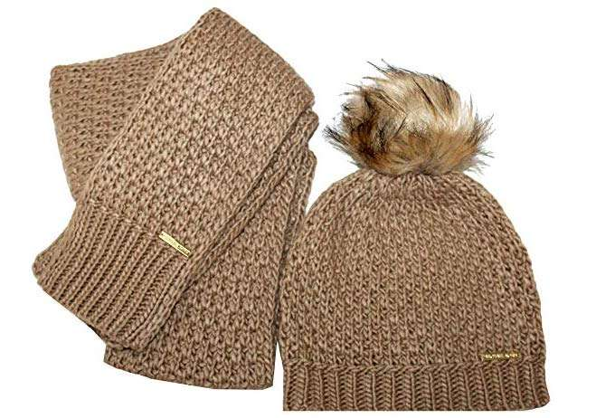 Michael Kors Womens 2 Piece Knit Pom Hat and Scarf Set