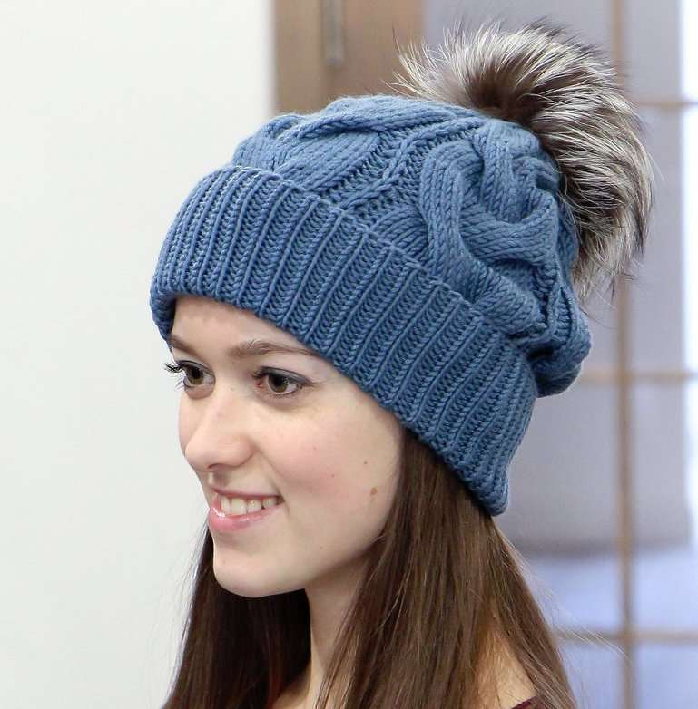 Natural Fiber Knit Tuque Pom Pom Hat