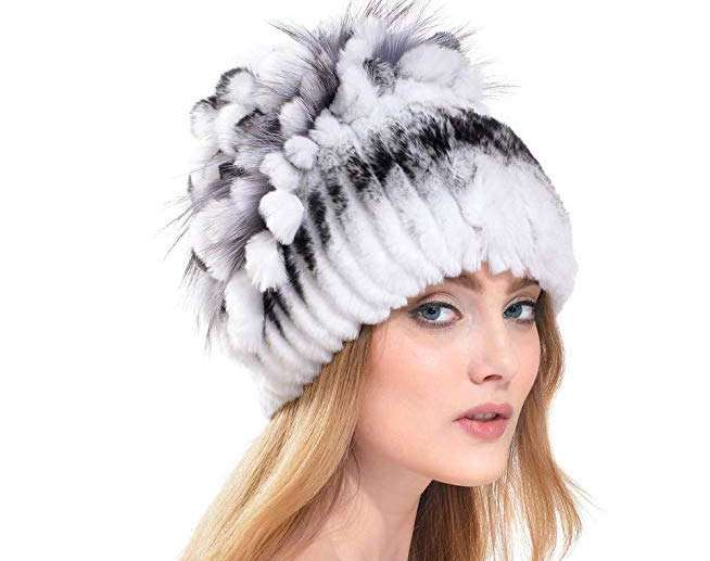 Rabbit Fur pom pom Hat