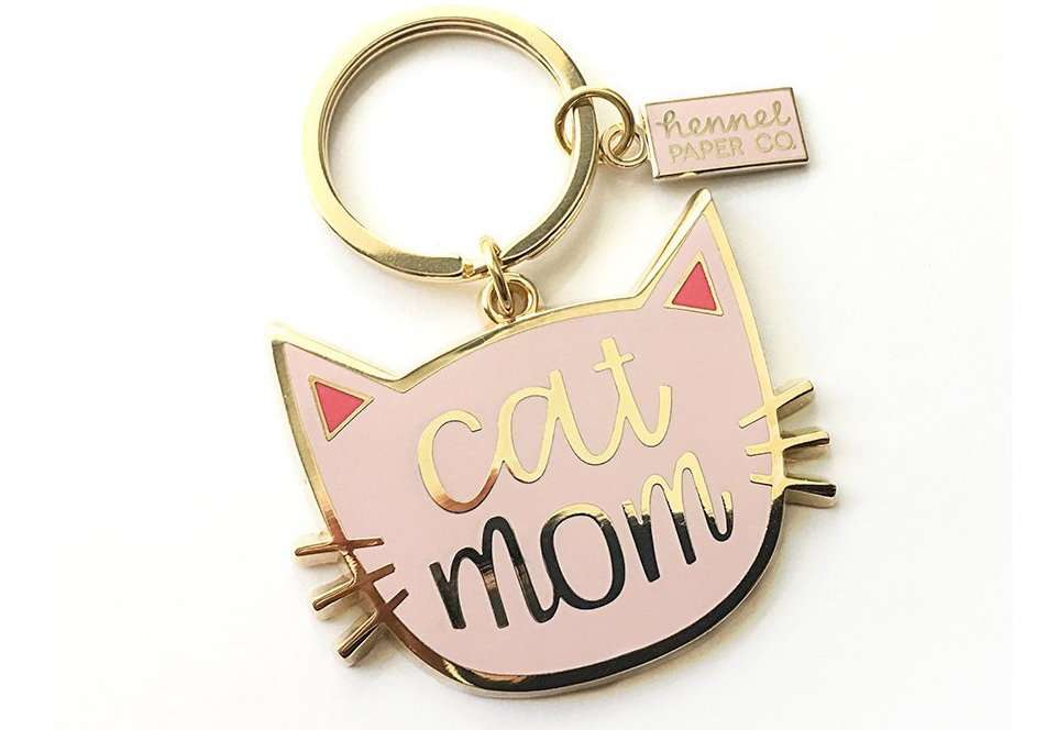 best gifts for cat lovers, Cat Mom Enamel Keychain