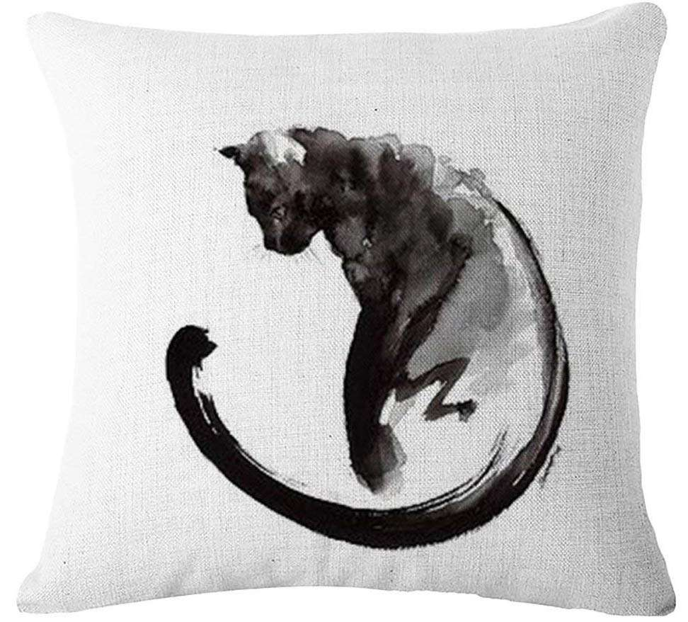 inexpensive gifts for cat lovers, Lyn Cotton Linen Square Throw Pillow