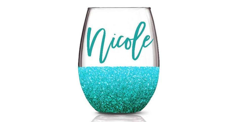 Custom Plastic Glitter Wine Glasses, valentines day gifts for her
