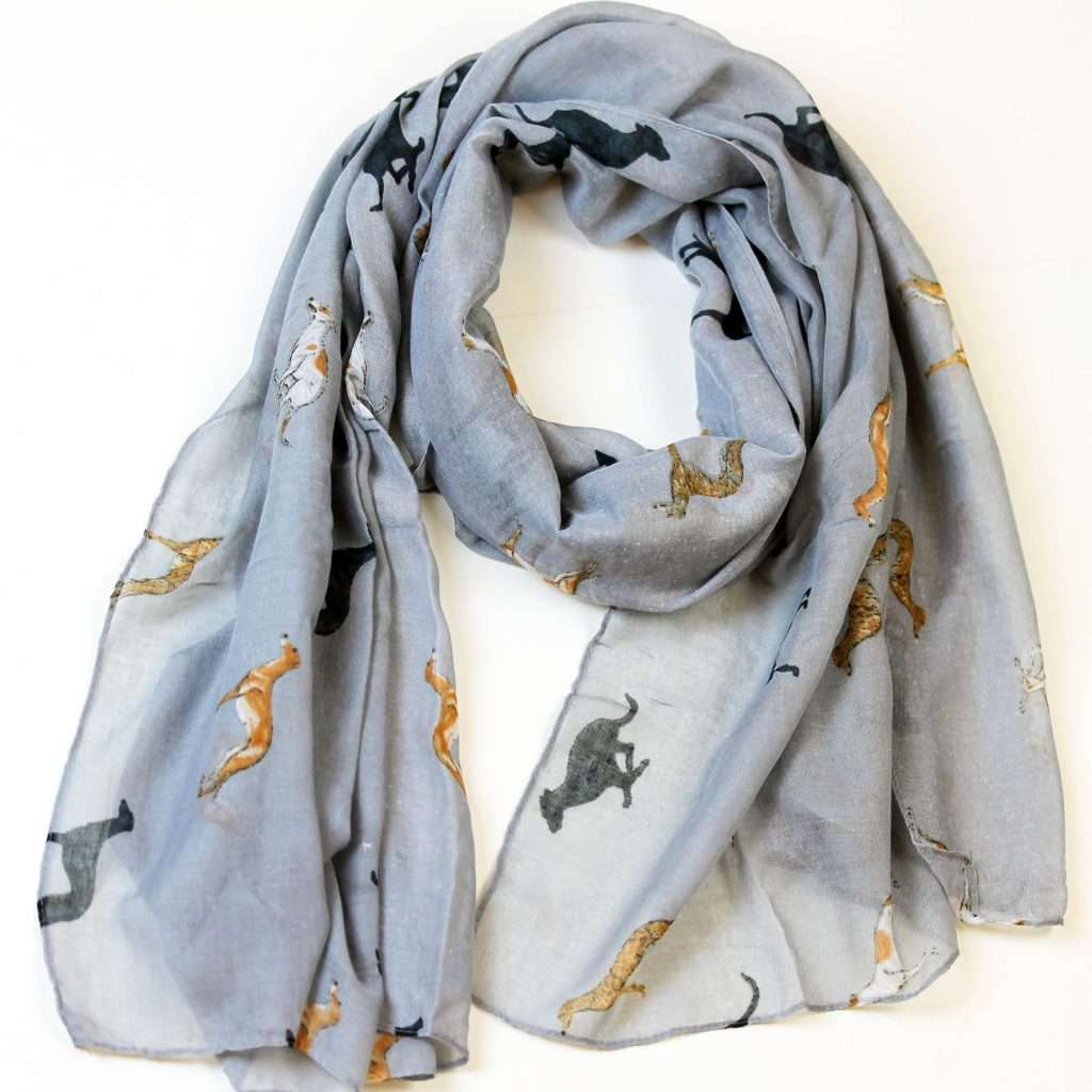 Greyhound Coloured Print Soft Scarf, unique gift for dog lovers