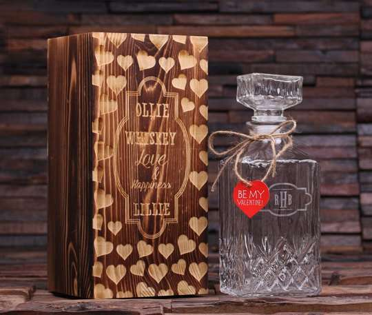 Personalized Etched Scotch Decanter Bottle, valentines day gift for husband