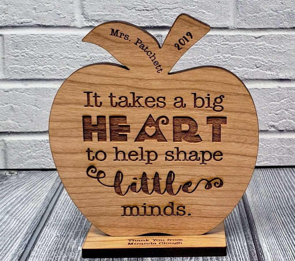Teacher Appreciation Engraved Wood Carving