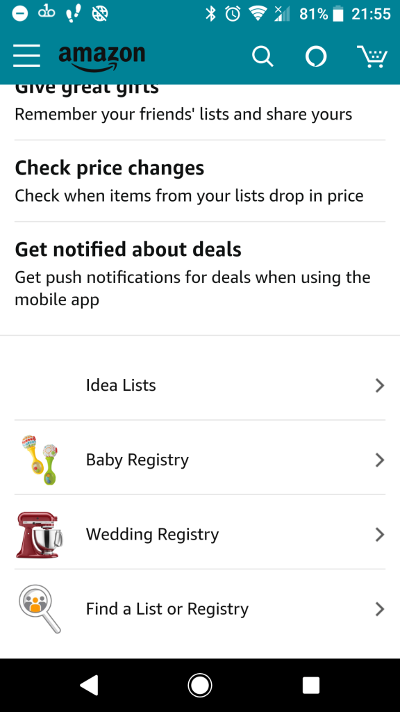 Find a List or Registry on Amazon App