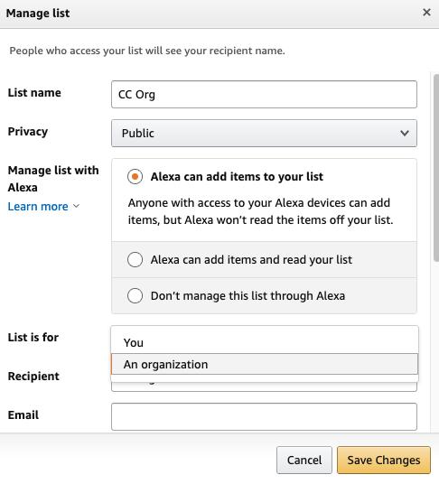 Non profit Amazon wish list