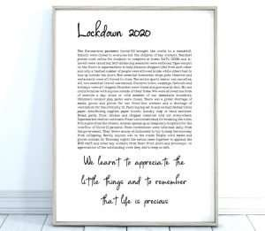 Lockdown 2020 Quarantine Keepsake