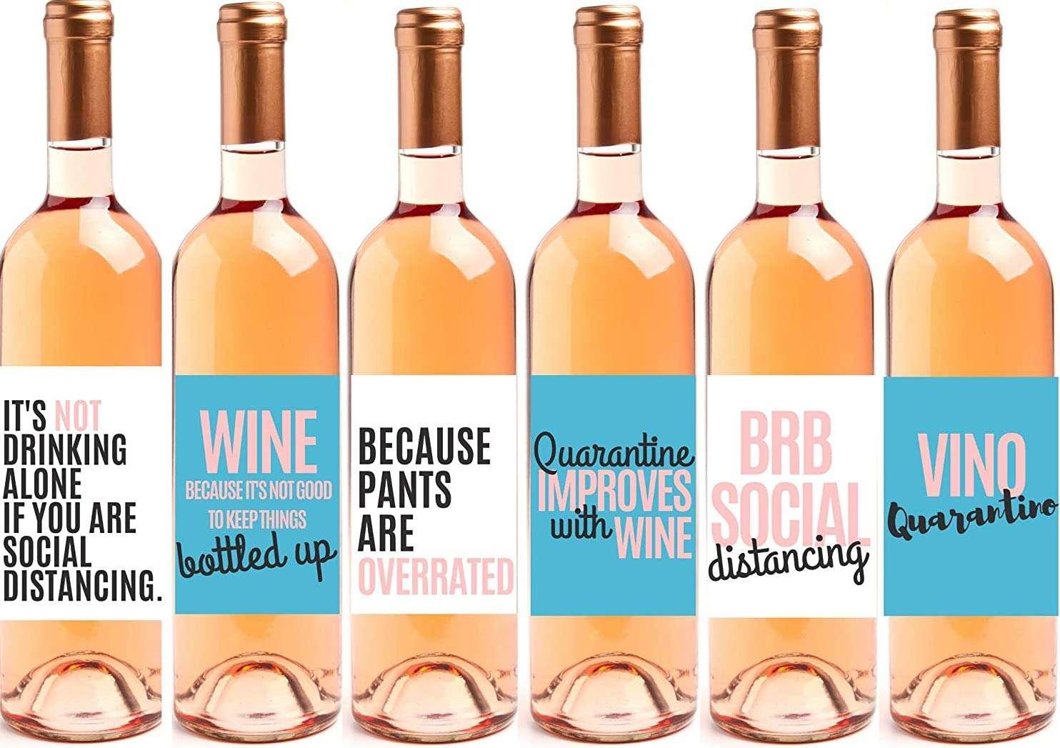 Quarantine Gift Wine Bottle Labels