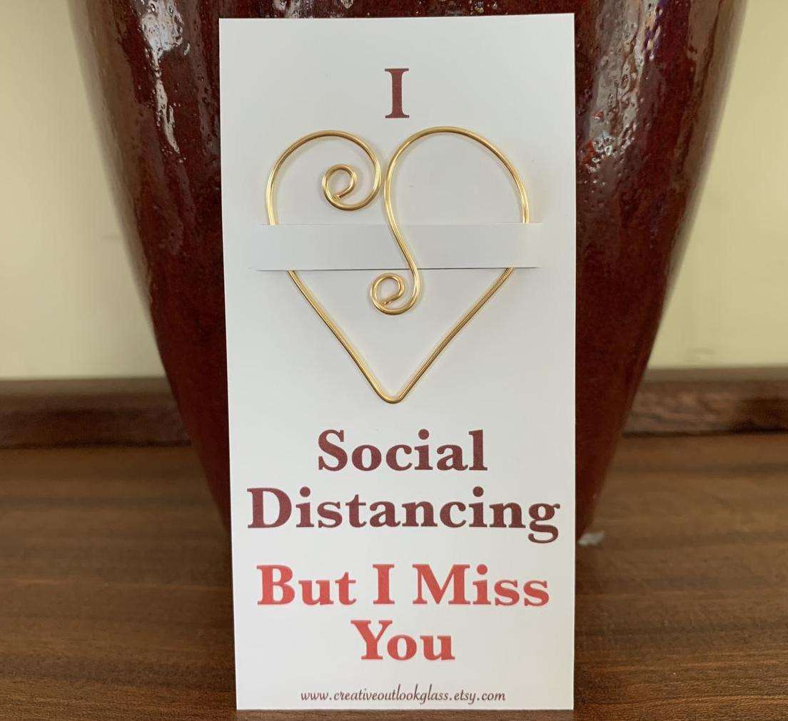 Social Distancing Gift Heart Bookmark