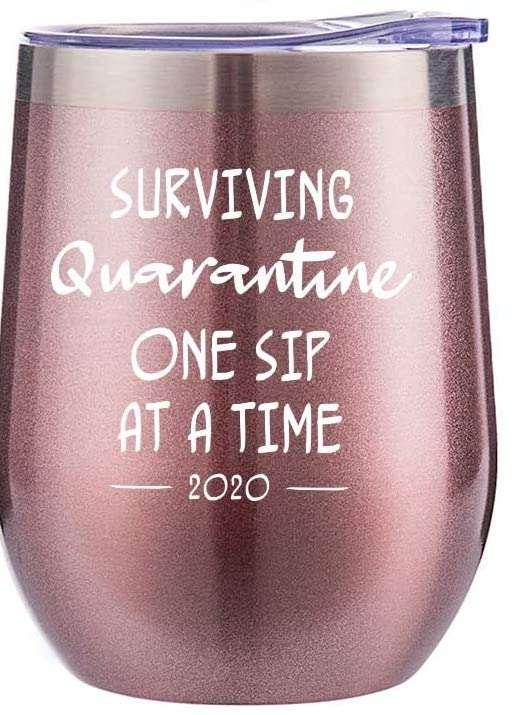 Surviving Quarantine Funny Wine Tumbler