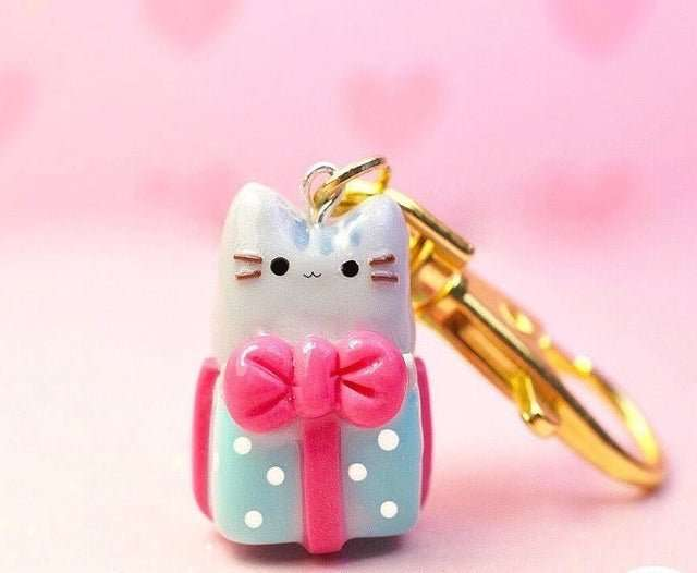 Pusheen Cat Charm Keychain