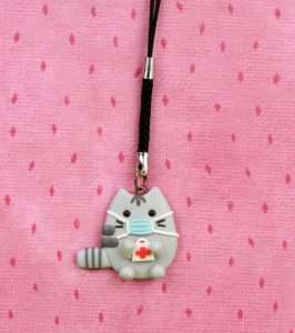 Pusheen In Face Mask Keychain