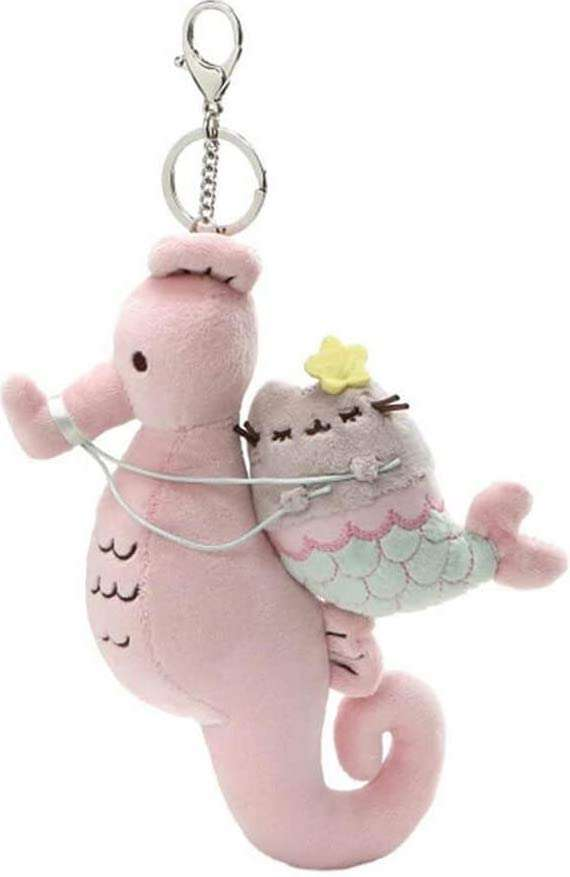 Pusheen Mermaid and Seahorse Magical Kitties Plush Deluxe Keychain Clip