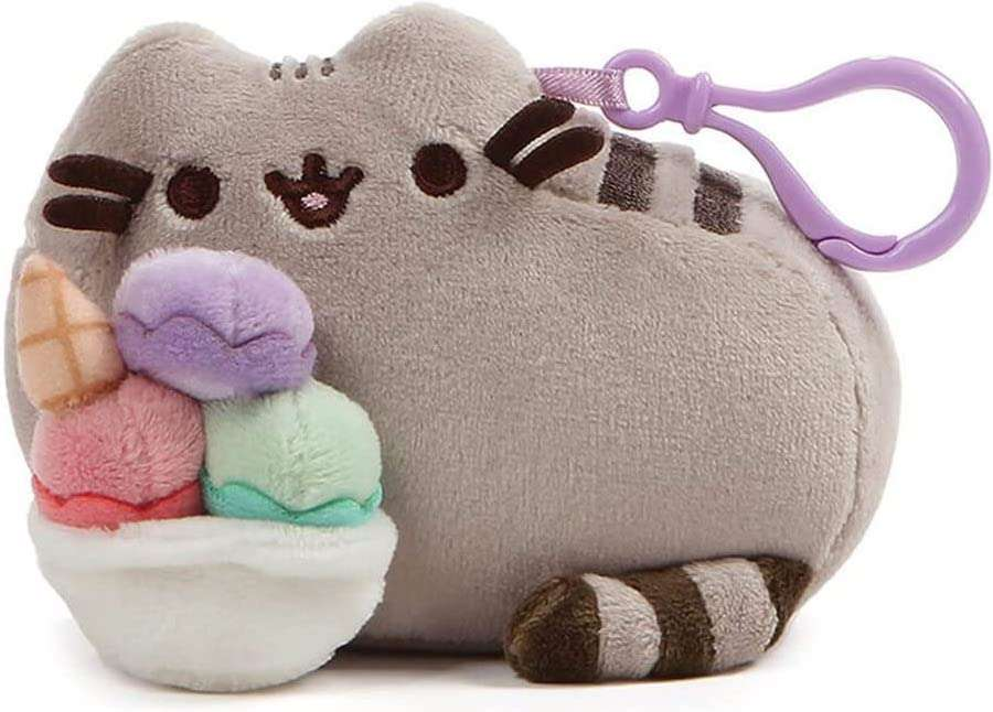 Pusheen Snackable Sundae Cat Plush Stuffed Animal Backpack Clip