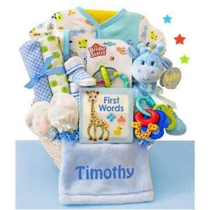 Personalized Little Safari Baby Boy Gift Basket