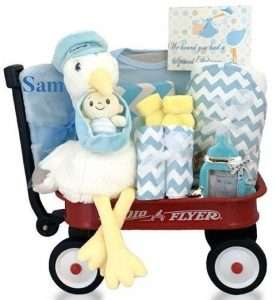 Personalized Stork Delivery Radio Flyer Wagon Gift Basket