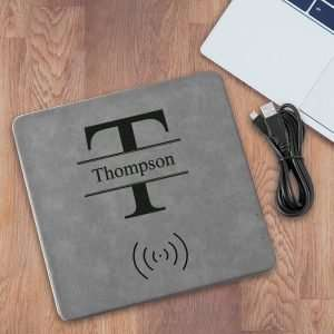 Personalized Gray Charging Pad