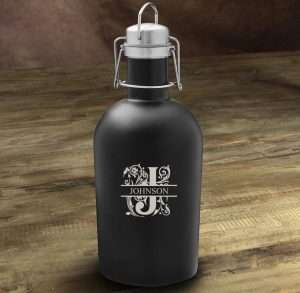 Personalized Matte Black Beer Growler