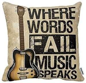 Where Words Fall Music Speaks Quote Throw Pillow Case