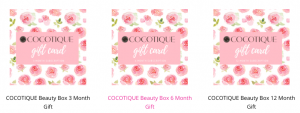 Cocotique beauty subscription digital gifts