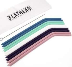 Flathead Bent Reusable Silicone Drinking Straws