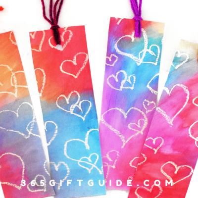Crayon Resistant Watercolor Bookmarks - DIY Valentine's Gift Idea