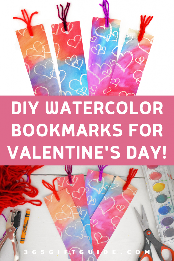 DIY watercolor bookmarks for valentine's day