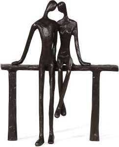 Romantic Couple Reclining on Bench Bronze Sculpture
