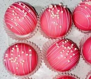 Strawberry Hot cocoa bombs