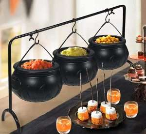 Halloween Witches Cauldron Serving Bowls on Rack